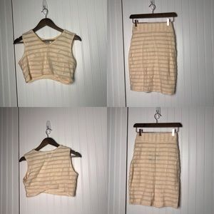 Sabo Skirt striped peach two piece set